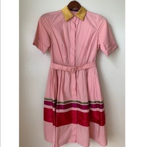 Lovely Pink Colorful Collared  Dress 2